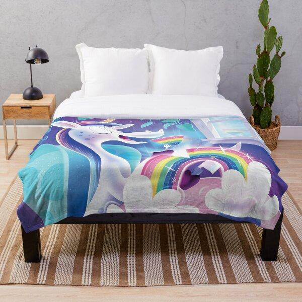 Unicorn Dining on a Rainbow Throw Blanket