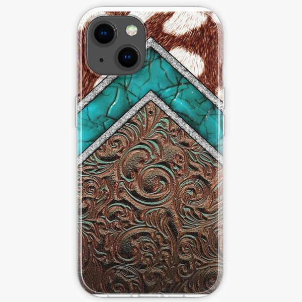 Western Cowgirl Pattern Cowhide Turquoise and Tooled Leather iPhone Soft Case