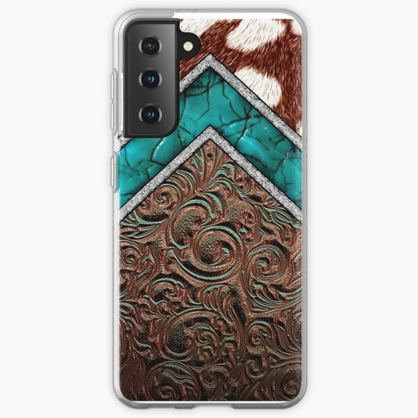 Western Cowgirl Pattern Cowhide Turquoise and Tooled Leather Samsung Galaxy Soft Case
