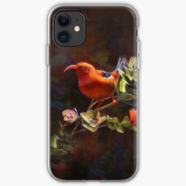 Hawaiian Iiwi bird and Red Ohia Lehua Flowers - Tropical Wildlife iPhone Soft Case