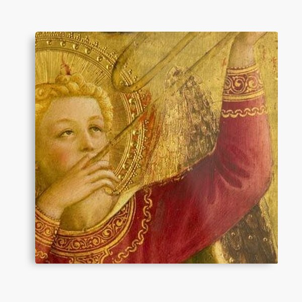 Angel with Trumpet - Magnificent Angel in gold and red by Fra Angelico.  Metal Print