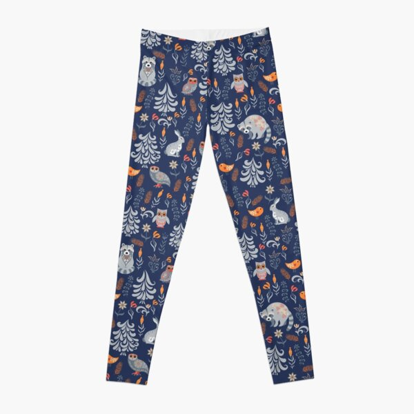 Fairy forest with animals and birds. Raccoons, owls, bunnies and little chick. Leggings
