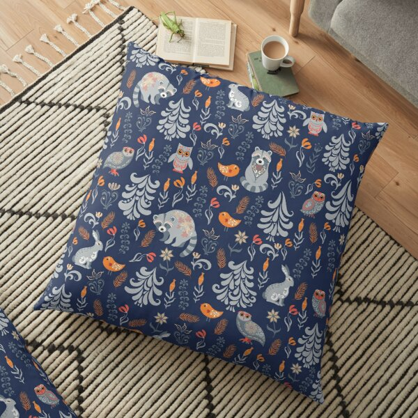 Fairy forest with animals and birds. Raccoons, owls, bunnies and little chick. Floor Pillow