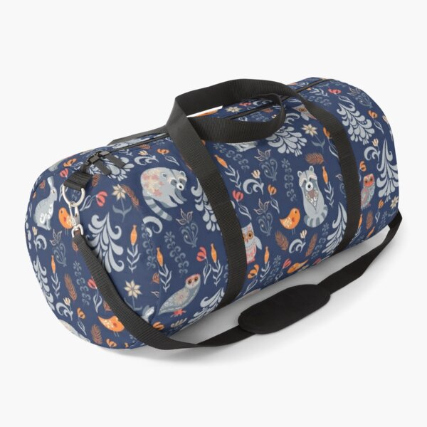 Fairy forest with animals and birds. Raccoons, owls, bunnies and little chick. Duffle Bag