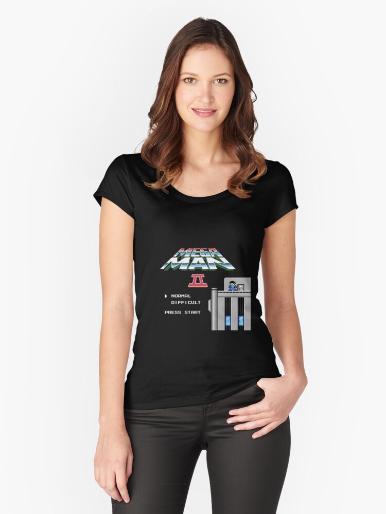 Megaman 2 - He's up on the effin' roof Women's Fitted Scoop T-Shirt Front