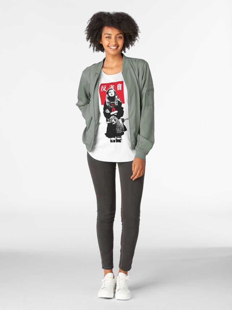 Alternate view of Japanese Samurai Girl Urban Cyberpunk Style Premium Scoop T-Shirt