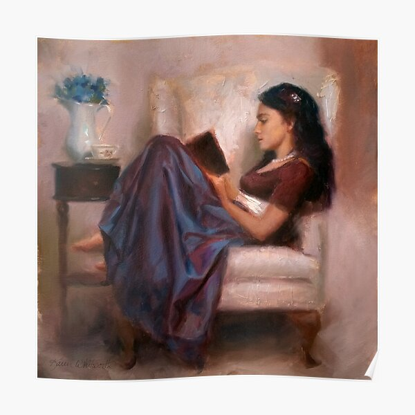 Portrait of woman reading a book in a comfy chair Poster
