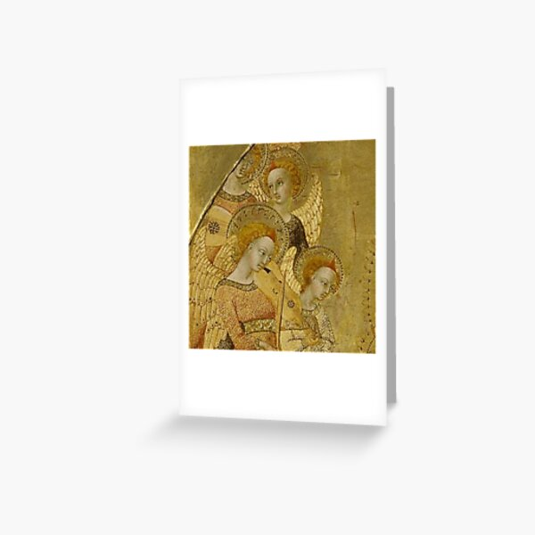 4 Golden Angels with Musical Instruments Greeting Card