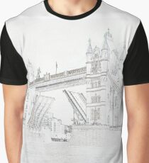 Tower Bridge - Black and White line drawn style Graphic T-Shirt