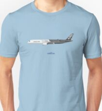 Illustration of Airbus A350 F-WWCF - Blue Version Unisex T-Shirt