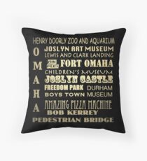 Omaha Nebraska Famous Landmarks Throw Pillow