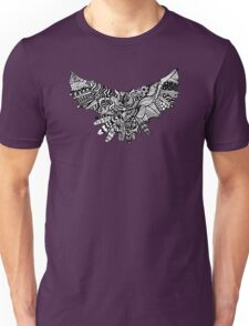 Owl Birds Pattern on Black Unisex T-Shirt