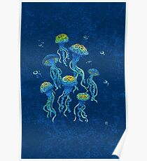 Swirly Jellyfish Poster