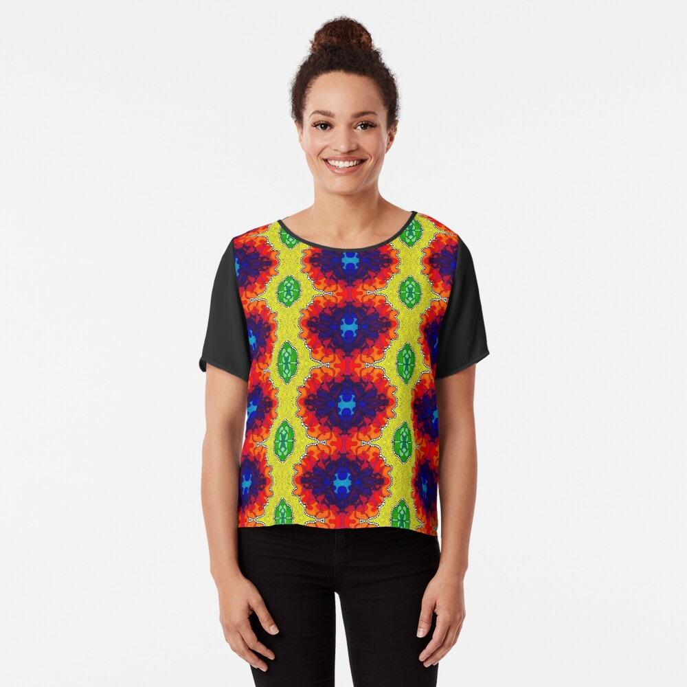 Psychedelic Abstract colourful work S7(Tile) Chiffon Top