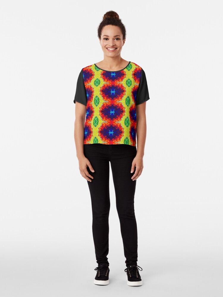 Alternate view of Psychedelic Abstract colourful work S7(Tile) Chiffon Top