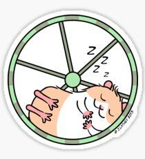 Hamster Sleeping in Exercise Wheel Sticker