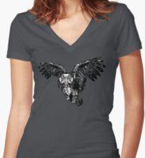 Skeletowl BW Women's Fitted V-Neck T-Shirt