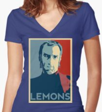 Portal 2 Cave Johnson LEMONS (hope parody) Women's Fitted V-Neck T-Shirt