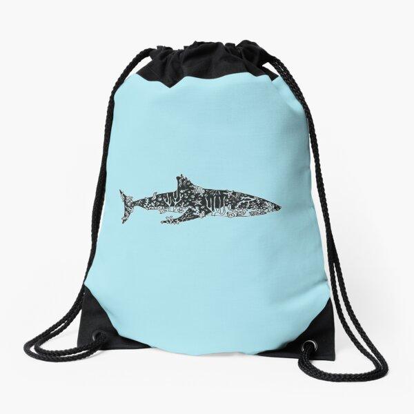 Coral reef shark Drawstring Bag