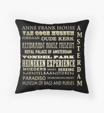 Amsterdam Famous Landmarks Throw Pillow