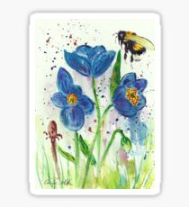 Bumble bee among blue poppies Sticker
