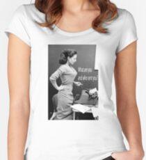 Retro Humor Woman Versus Typewriter  Women's Fitted Scoop T-Shirt