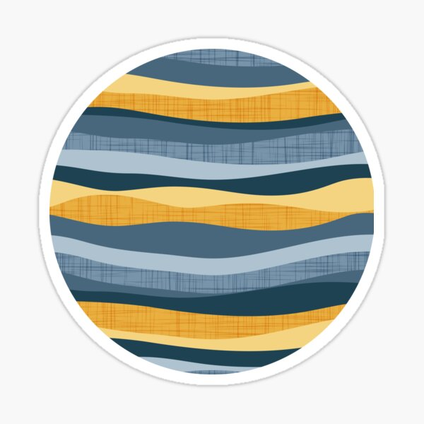 Horizontal lines intersection // white yellow and blue stripes Sticker