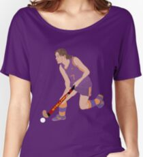 Female Field Hockey Player Women's Relaxed Fit T-Shirt