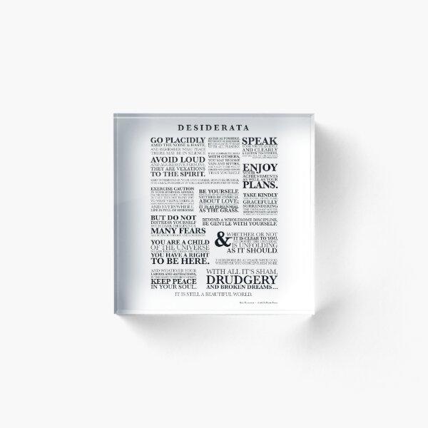 DESIDERATA - a 1920's prose in black Acrylic Block