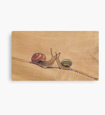 Snail Kiss (red/green) Canvas Print