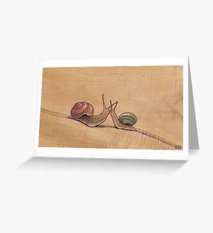Snail Kiss (red/green) Greeting Card