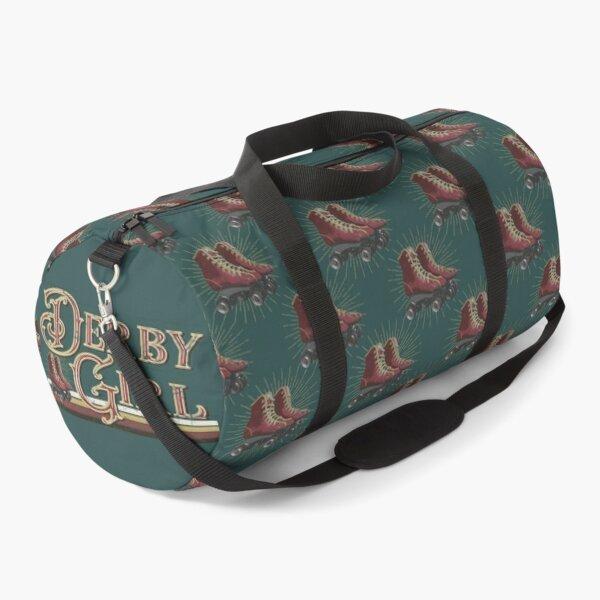 Roller Skate - Derby Girl - vintage, retro, distressed look roller skate design - on teal Duffle Bag