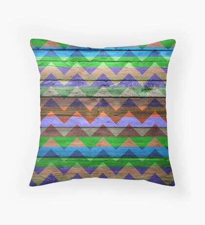 Chevron Zigzag Pattern on Wood Texture Throw Pillow