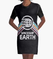 Vintage Spaceship Earth with Distressed Logo in Retro Style Graphic T-Shirt Dress