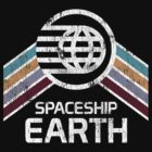 Vintage Spaceship Earth with Distressed Logo in Retro Style by retrocot