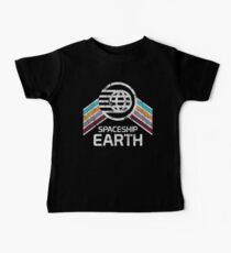 Vintage Spaceship Earth with Distressed Logo in Retro Style Baby Tee