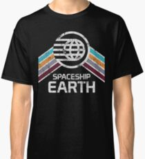 Vintage Spaceship Earth with Distressed Logo in Retro Style Classic T-Shirt