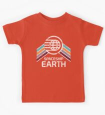 Vintage Spaceship Earth with Distressed Logo in Retro Style Kids Tee
