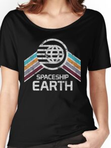 Vintage Spaceship Earth with Distressed Logo in Retro Style Women's Relaxed Fit T-Shirt