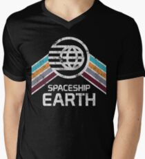 Vintage Spaceship Earth with Distressed Logo in Retro Style Men's V-Neck T-Shirt