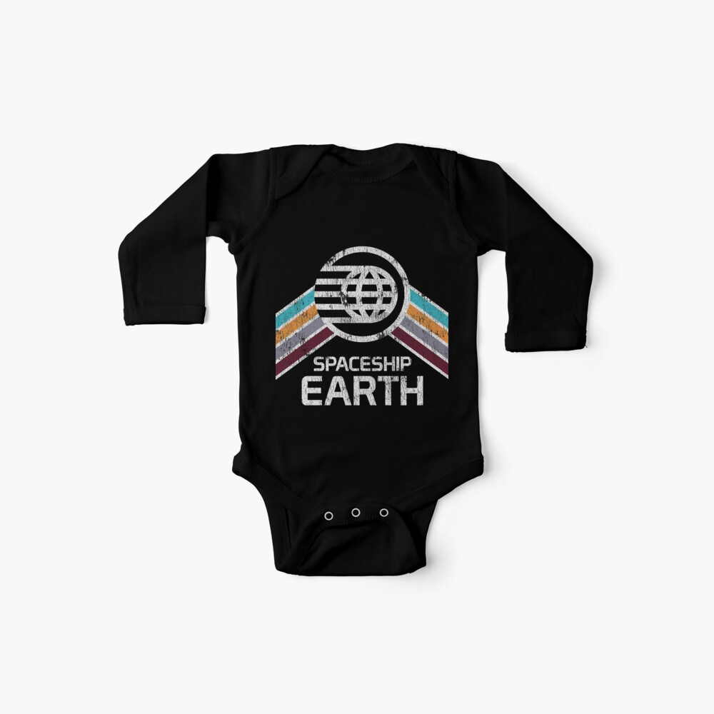 Vintage Spaceship Earth with Distressed Logo in Retro Style Baby One-Piece