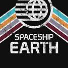 Vintage Spaceship Erde mit Distressed Logo im Retro-Stil von retrocot