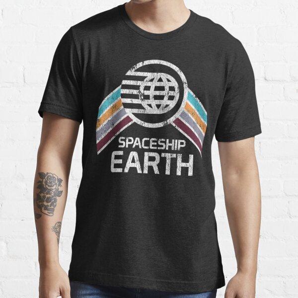 Logotipo de la nave espacial Earth en estilo retro apenado vintage Camiseta esencial