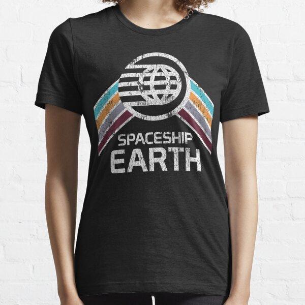 Logo de la terre de vaisseau spatial dans un style rétro vintage en détresse T-shirt essentiel