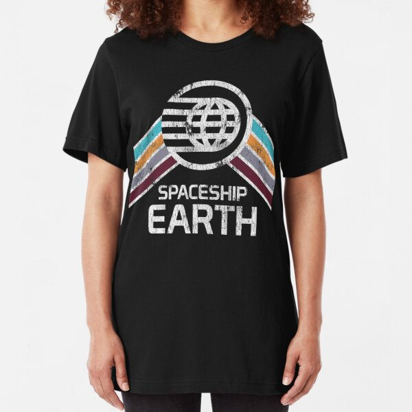 Vintage Spaceship Earth with Distressed Logo in Retro Style Slim Fit T-Shirt