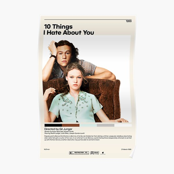 10 Things I Hate About You   Gil Junger, Minimalist Movie Poster, Vintage Retro Art Print, Custom Poster, Wall Art Prin, Home Decor Poster
