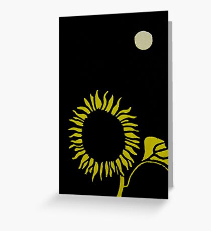 Sunflower Under the Moon Greeting Card