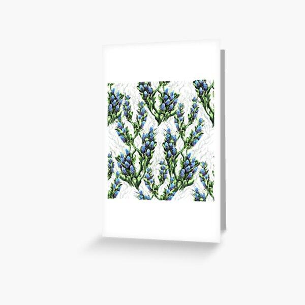 Bloom floral bleuté printanier fond blanc Carte de vœux