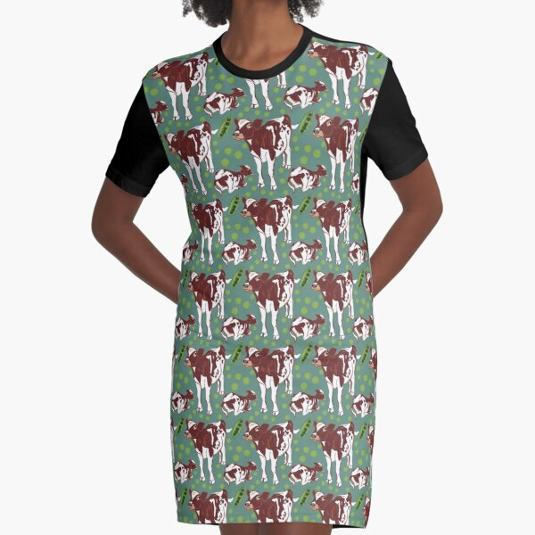 Baby calf in teal Graphic T-Shirt Dress