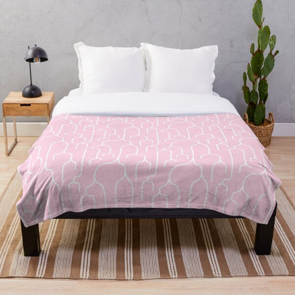 Abstract Phylogenetic Tree White on Pink Throw Blanket